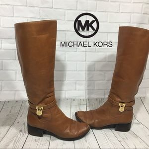 Michael Kors Ryan Brown Leather Boots 8